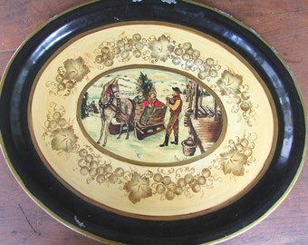 Hand Painted Tole Tray Vintage Winter Christmas Scene