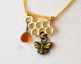 Bee & Honeycomb Necklace in Brass and Glass - Beekeepers, Gardeners, Nature Jewelry