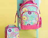 Monogram Piper Backpack, Girls Monogram Book bag, Backpack and Lunch box