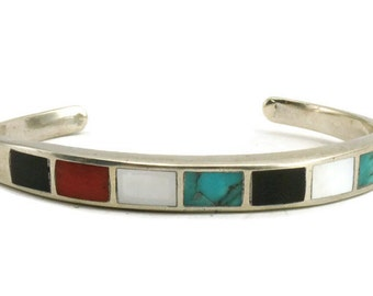 Multi Stone Inlay Sterling Silver Bracelet
