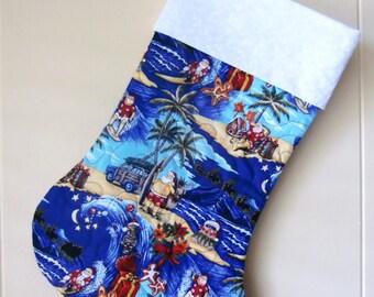 Quilted Hawaiian Christmas Stocking, Surfing Santa, Mele Kalikimaka, Beach Christmas, Tropical Santa and Woodies, Holiday Decoration, Blue