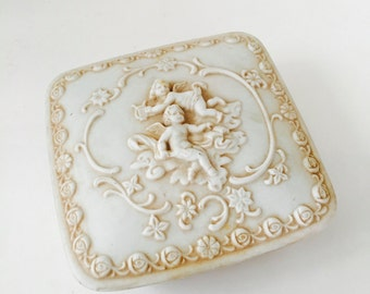 Lefton Bisque Box / Vintage Trinket Square Jewelry Box Cherubs by Lefton Japan #217