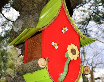 bird feeder, Birdfeeder, Sunflower Birdfeeder, bird feeder, garden art, sunflower, made to order in color options, custom birdfeeder, gift