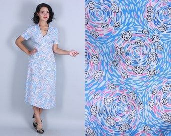 1940s NOVELTY PRINT Dress | Vintage 40s Rayon Tree & Swirl Print Dress | xs/s