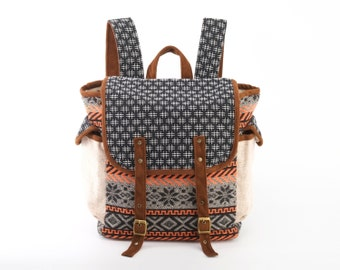 Wide Open Backpack, Diaper Bag/ Black and White Hand-spun Cotton Woven Stripes Fabric/ Boho, Hippie, Gypsy,