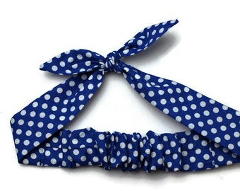 Knotted Hair Tie, Hair Wrap, Rosie Wrap, Headband, Bandana, Hair Scarf, Baby, Toddler, Child, Royal Blue, Polka Dots, Photo Prop, Rockabilly