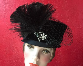 Black Velvet Vintage Hat with Rhinestone & Feather Detail