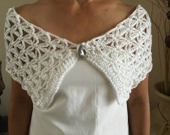 handmade white bridal shawl, bridal wrap, bridal bolero, bridal cover up w/brooch