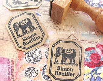 Elephant: personalised stamp (3x4 cm)
