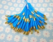 Cell Phone Strap Lanyard--20 pcs 70x3mm Blue Lariat Lanyard Mobile Cell Phone Strap Chains Connectors With Gold Metal Top