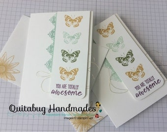 Stampin' Up! Thank You Card/Thinking of You Card/Friendship Card, Set of 2, Small Notecards- Grateful Bunch- Butterflies & Lace