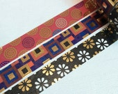 1 Roll of Limited Edition Foil Washi Tape (Pick 1) : Round, Square, or Floral Motif