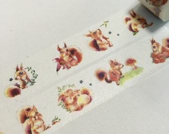 1 Roll of Limited Edition Washi Tape- Cute Squirrel
