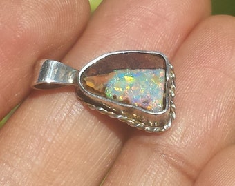 Rainbow boulder opal pendant
