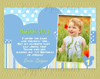Baby Mickey Mouse Thank You Cards , Mickey Mouse Thank Yous , First Birthday Thank You Card, Birthday Thank You