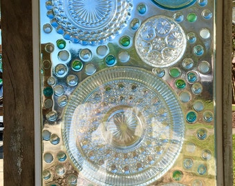 Glass Mosaic- Mosaic Window, Stained Glass Window, Mosaic Glass, Vintage Window, Vintage Glass Art, Glass Art, Window, Glass, Privacy Screen