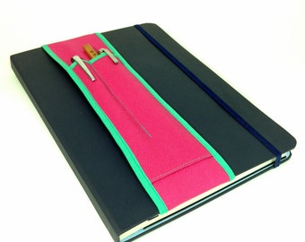 Notebook Pencil Holder 2 sizes  2-pocket Bandolier-- Pink and Sea Glass