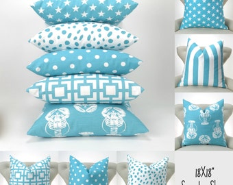 Blue Throw Pillow Covers -MANY SIZES- Decorative Pillows, Euro Shams, Coastal / Aqua Blue, Mix/Match patterns by Pemier Prints