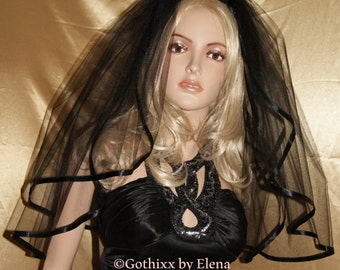 """Wedding Veil Gothic Black Red Purple Pink Beige White Ivory Veil Elbow Waist two tiers 72"""" width 27"""" 30"""" length satin ribbon edge 26 colors"""