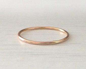 Rose Gold Ring - Skinny - Smooth - 9ct Rose Gold Band