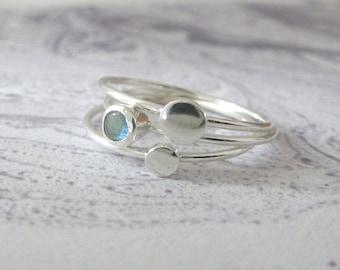 Labradorite Ring - Sterling Silver Rings - Skinny Rings - Stacking Rings - Orbit Collection