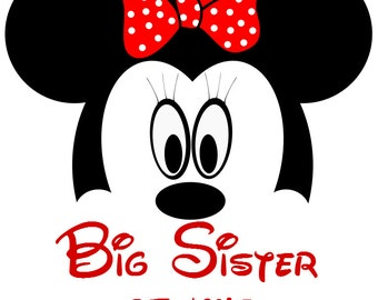 Custom Minnie Big Sister of the Birthday Boy or Girl  Iron on Transfer Decal (not digital download) Matching Disney Family Shirts