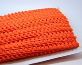 ORANGE 5 yards mini pom pom fringe trim - sewing - papercraft - diy - party garland - halloween
