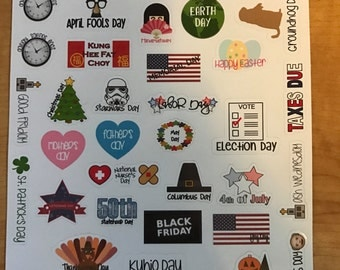 US Holiday Planner Stickers with State of Hawaii Holidays