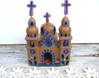 Vintage Mexican chapel, hispanic clay church, purple folk art building, religion, shrine, worry doll