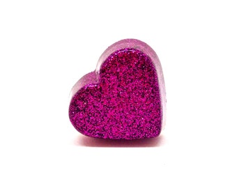 Sparkly purple heart ring, statement heart ring, glitter resin heart ring, cocktail ring, novelty ring, harajuku jewelry