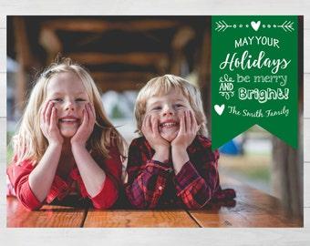 Photo Christmas Card, Digital Photo Christmas Card, Printable Holiday Card