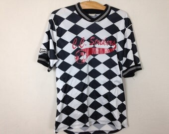 white n black checkered soccer shirt size L