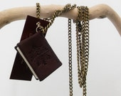 Wearable Leather Book - Miniature Book Pendant, love message