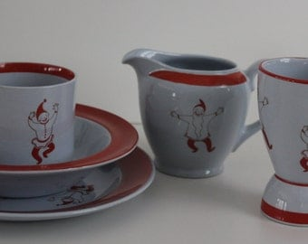"So so cheerful Gnomes ""Tonttu""  pattern complete childrens dinner set  by Arabia Finland"