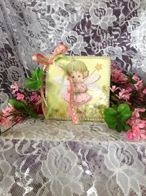 "Tile Art, 3D Tile Art, Decorative Tile, Angel, 4x4"" Tile, Angel In The Garden With Easel"