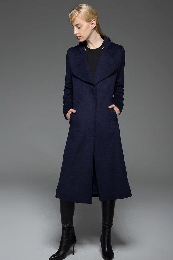 Womens coats navy blue coat elegant coat wool coat winter