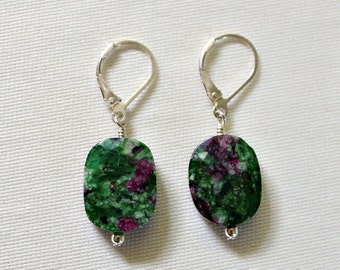 Ruby Zoisite Bali Sterling Silver Earrings,Chakra Stone,40th Birthday Gift for Woman,Unique Stone Earrings,Faceted Gemstone,Healing,Gift