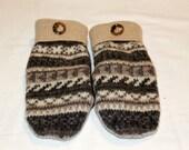 Winter Wool Mittens - Wool Felted Mittens - Sweater Mittens - Fleece Lined Mittens - Womens Size Medium - Tan
