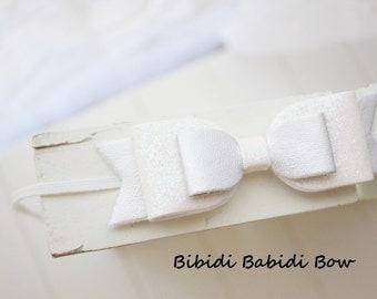 Girls headband- White Glitter bow- Girl headband- infant headband- Baby girl headband- Gift- Toddler headband -Hair accessory