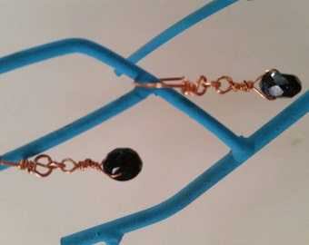 Copper Wire & Faceted Blue Goldstone Dangle Earrings
