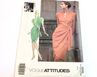 Vogue Wrap Dress Pattern, Vogue 2568, Tom and Linda Platt Wrap Dress, Cut and Complete, Size 6 8 10