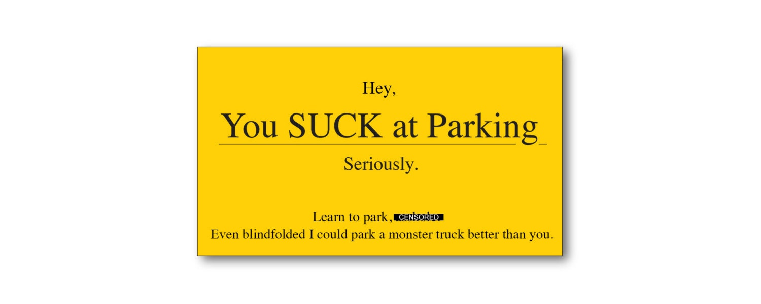 Funny Gift For Men You Suck At Parking Business Cards Bad
