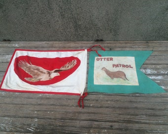 Vintage Boy Scouts of America Folk Art Troop Flags