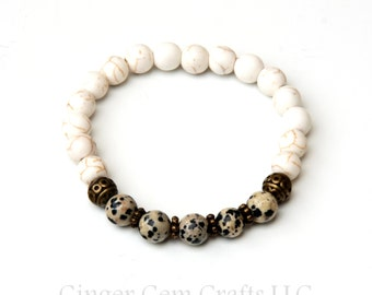Howlite anklet, howlite jewelry, dalmation jasper anklet, mala, healing anklet, healing jewelry, yoga anklet, stone anklet