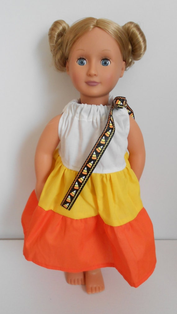 Candy Corn Pillowcase dress for American Girl doll and 18 inch dolls