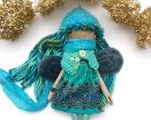 Fairy Rag Doll, Handmade Rag Doll, Soft Doll, Fabric Doll, Blue Green Pixie Doll
