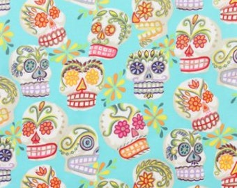 Alexander Henry-Folkorico Collection Calaveras (Skulls) G6428/C Turquoise by the Yard
