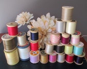 Vintage Lot 24 Wood Spools Thread Assorted Colors  J and P Coats / Star / Coats and Clark / Corticelli