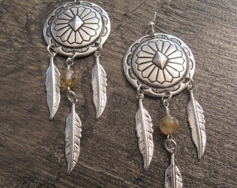 Silver Plated Concho Earrings with Yellow Cherry Quartz Gemstones