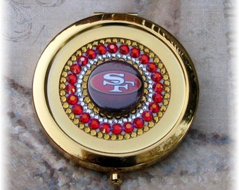Gold Metal FREE SHIPPING Rhinestone Crystal Bling Preciosa Viva-12 Red Gold San Francisco 49ers NFL Gold Tone Compact Mirror Gift